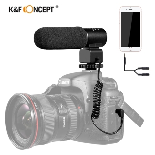 K&F concept Rechargeable Stereo Camcorder Microphone Interview microphone for Canon Nikon Sony DSLR Camera Microfone thumbnail