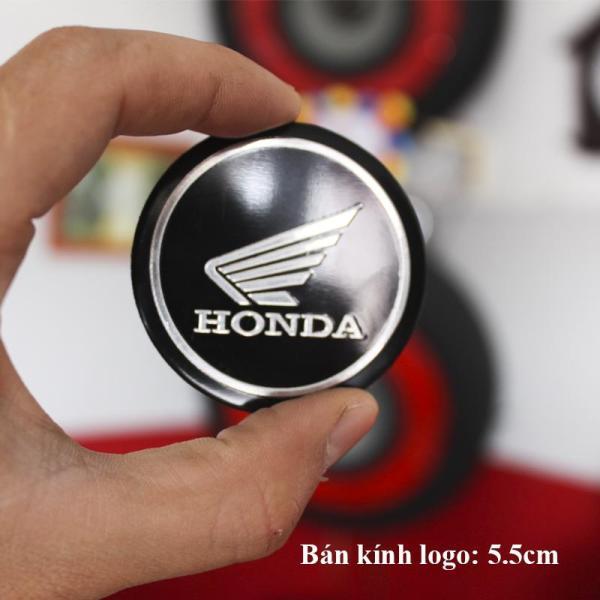 Bộ 2 Logo Tròn Honda nhôm kim loại Dán keo 3M