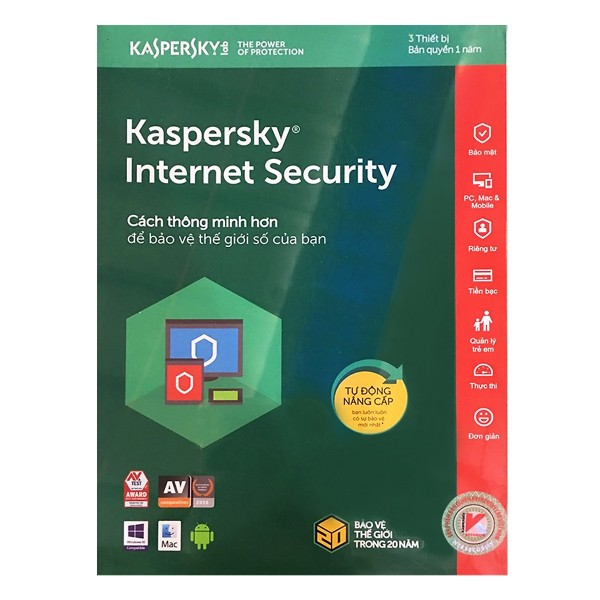 Bảng giá Phần mềm Kaspersky Internet Security - 3PC/1Năm Phong Vũ