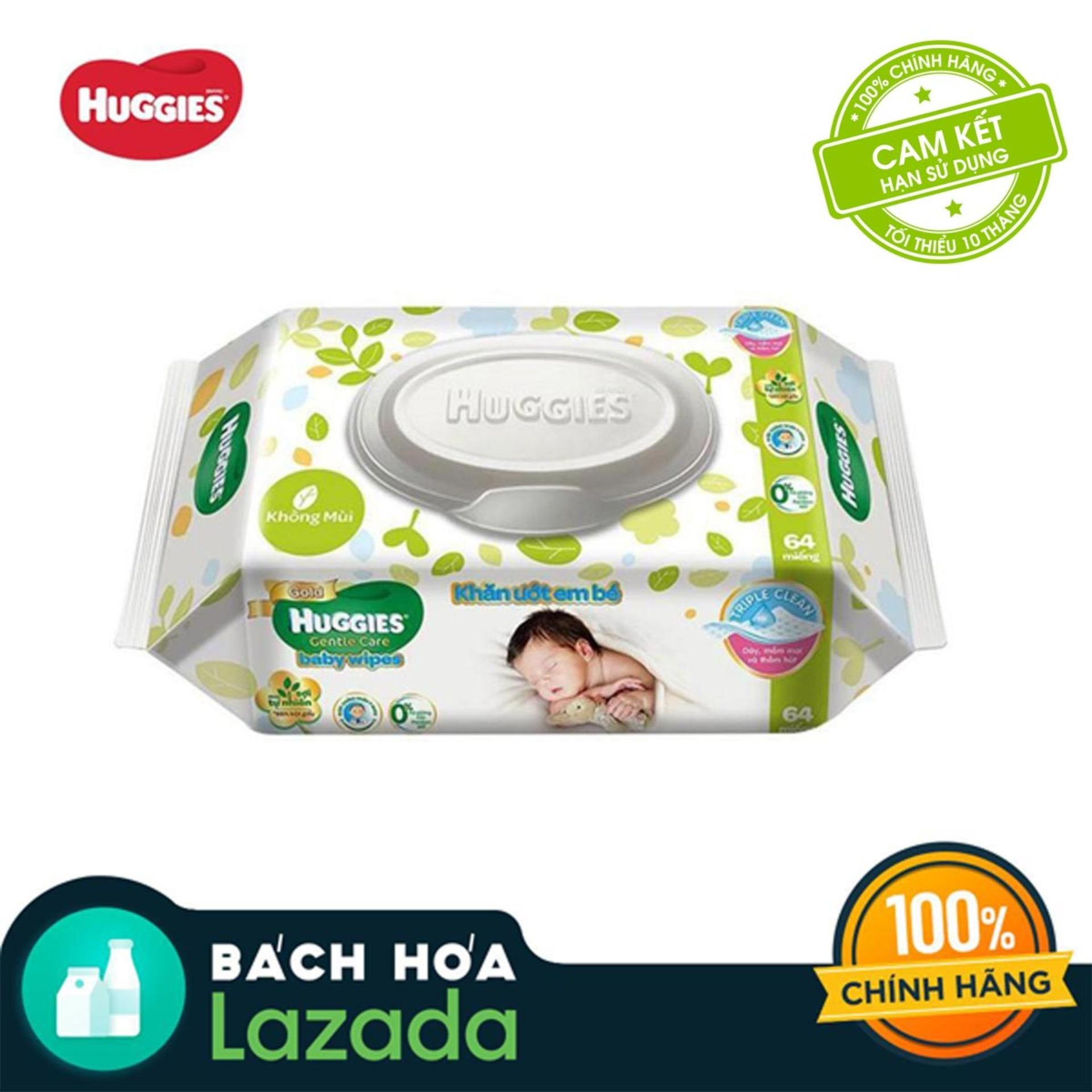 Khăn giấy ướt cho trẻ sơ sinh Huggies 64 tờ