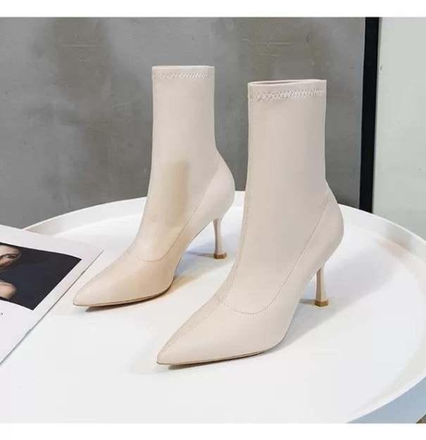 (Bảo hành 12 tháng) Giày boot cao gót nữ cổ cao gót mảnh thời trang cao cấp - Giày cao gót nữ cao 8cm  - Giày nữ da mềm 3 màu Trắng - Đen - Kem- Linus LN228 giá rẻ