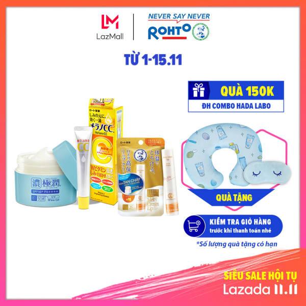 Bộ sản phẩm chống nắng dưỡng trắng Hada Labo Gokujyun - Melano CC (Kem dưỡng ẩm chống nắng 90g + Mặt nạ dưỡng trắng 20 miếng) + Tặng Son dưỡng tan chảy Mentholatum Melty Cream Lip hương Mật Ong 2,4g