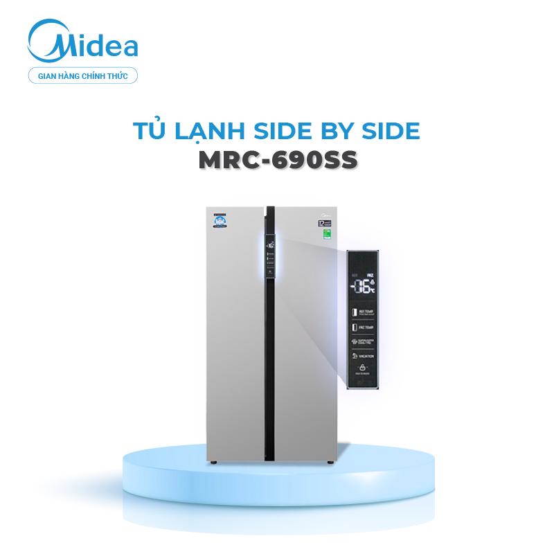 Tủ lạnh Midea Inverter MRC-690SS 530 lít (Dung tích thực tế - Dung tích tổng 600L) - Dòng cao cấp - Ag+ Diệt khuẩn giữ đồ ăn tươi ngon lâu - Hàng chính hãng bảo hành 2 năm