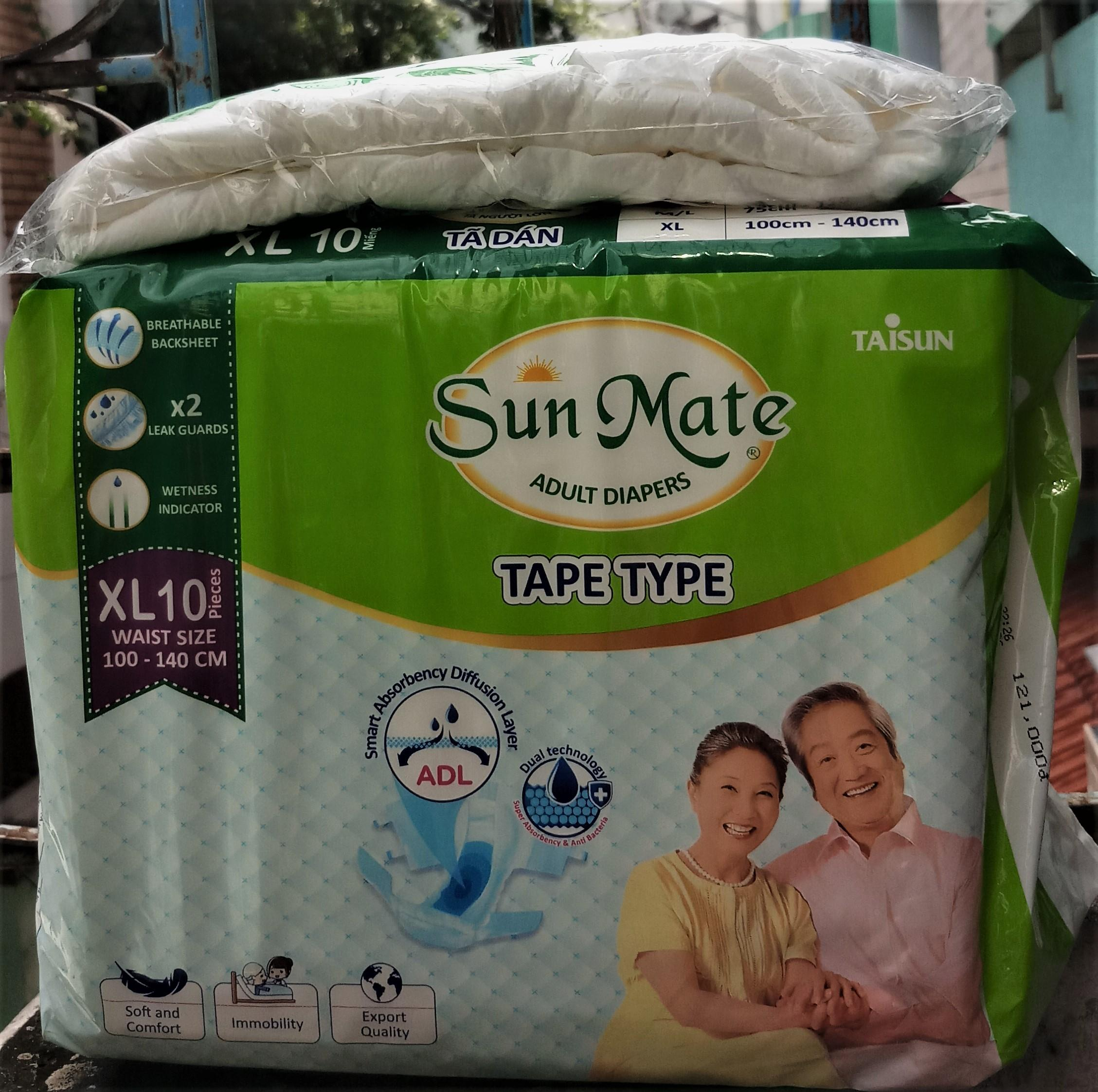 [Tặng 1 miếng tã dán Sunmate XL] Tã dán SunMate XL10 mẫu mới vòng bụng 100-140cm nhập khẩu