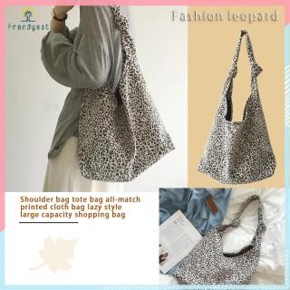Túi xách tote bằng cotton phối họa tiết da báo phong cách thời trang cho phái nữ thumbnail