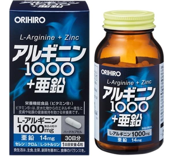 Viên Uống L-Arginine 1000mg và Zin C Orihiro 120 Viên Tăng Cường Sinh Lý Nam Giới