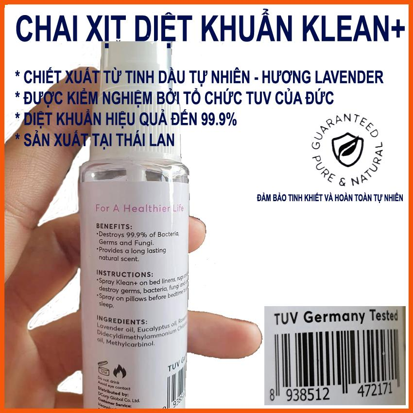 Giá Quá Tốt Để Có Chai Xịt Diệt Khuẩn Và Khử Mùi Klean+ Tinh Dầu Lavender,