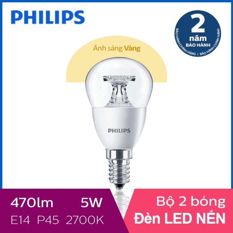 Bộ 2 Bóng đèn Philips LED Nến 5.5W 2700K E14 230V P45 - Ánh sáng vàng