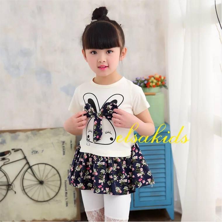 Bộ váy hè  hoạ tiết thỏ nơ cực xinh cho bé gái size to cho bé từ 4-7 tuổi (17-25kg)