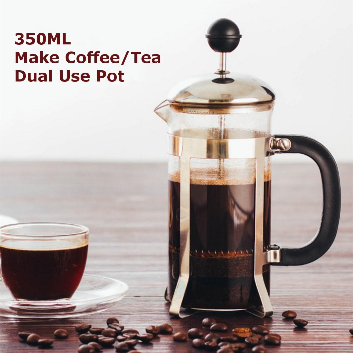 Bình Pha Cafe Kiểu Pháp 350ml (Bạc) - Bình pha cà phê french press - Dùng để pha trà hay cà phê theo phương pháp French press ép cà phê - Thiết kế tinh gọn, hiện đại - Chất liệu cao cấp Nhật Bản
