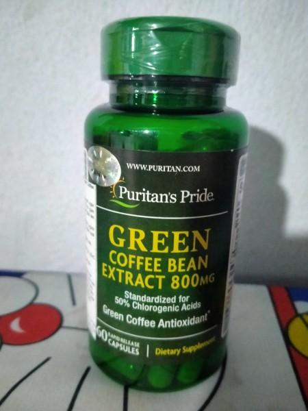 (Thanh lý) Giảm cân, giảm đường huyết, làm đẹp da, chiết xuất cà phê xanh Green Coffee Bean 800mg của Puritan Pride