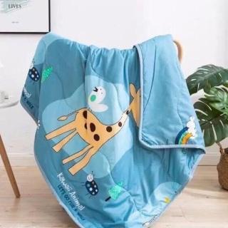 Mền chăn đũi cotton hoạt hình 2 mặt vho bé đến trường leopard thumbnail