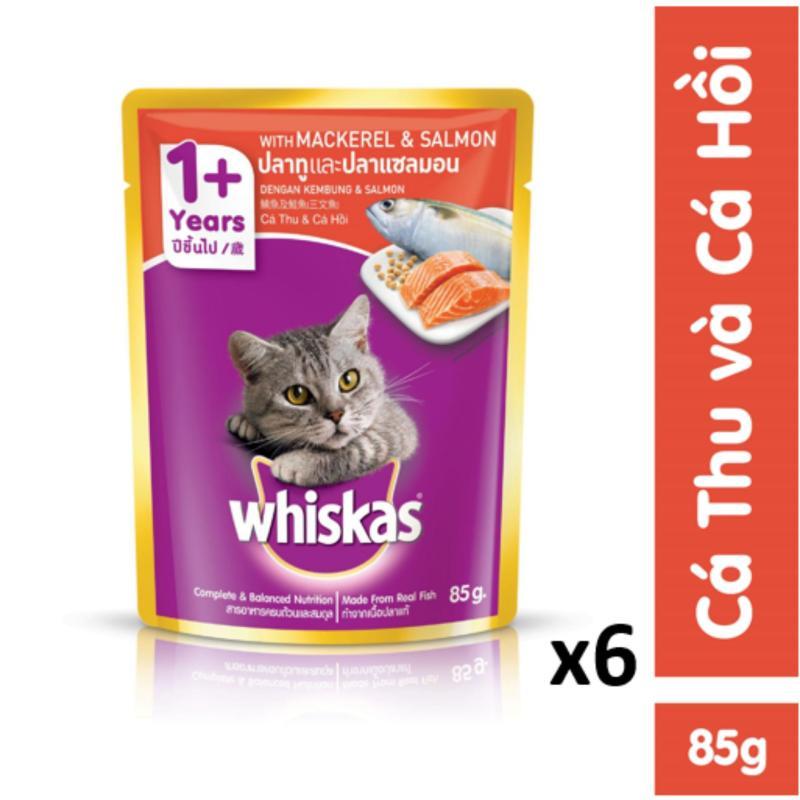 Bộ 6 túi thức ăn mèo lớn Whiskas vị cá thu và cá hồi 85g