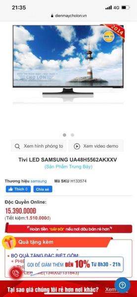 Bảng giá SMART TV SAMSUNG 48 INCH - THANH LÝ 99%