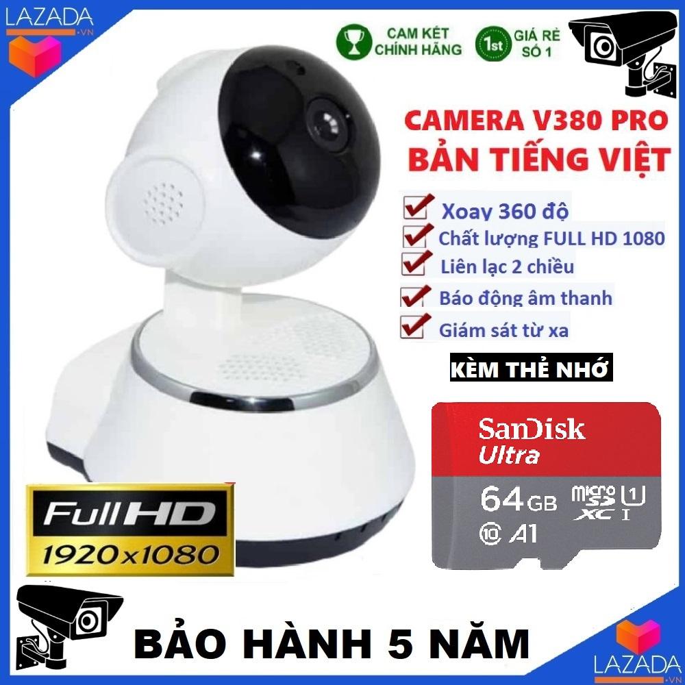 Camera - Camera wifi - Camera mini v380 kèm thẻ nhớ 64gb có tiếng việt ,FULL HD Camera an ninh độ phân giải cao bảo hành 3 năm 1 đổi 1 trong 7 ngày ( Lưu ý có 2 mã sản phẩm gồm kèm thẻ và chưa kèm thẻ ) xoay 360 độ