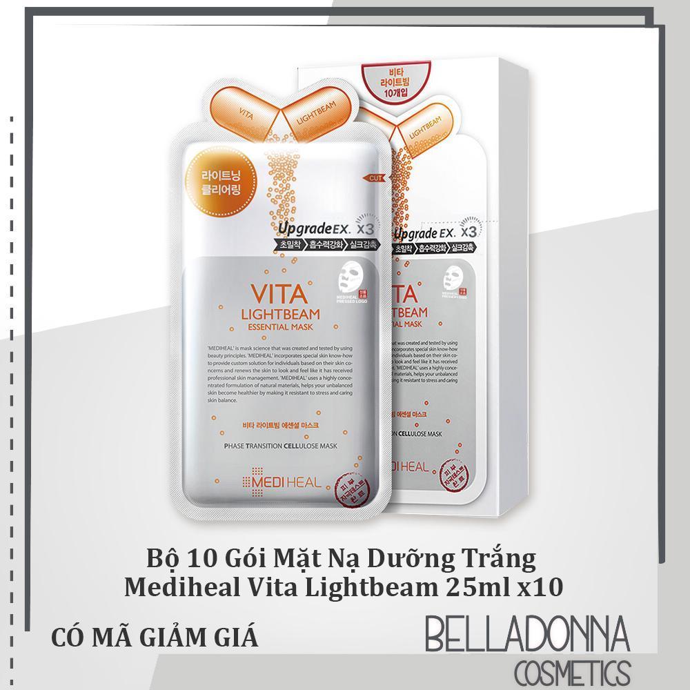 Bộ 10 Gói Mặt Nạ Dưỡng Trắng Sáng Da Chiết Xuất Vitamin Mediheal Vita Lightbeam Essential Mask 25ml x10 cao cấp