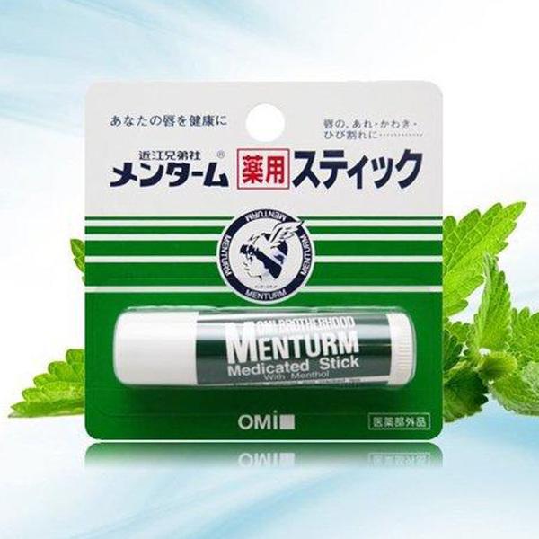 SON DƯỠNG MÔI OMI MENTURM CỦA NHẬT (THỎI 4GR), giúp làm mềm môi, chống nứt nẻ cho môi, son có hương vị bạc hà thơm mát