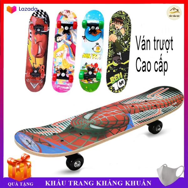Giá bán Ván trượt Cao cấp cho trẻ em Skateboard từ 2 - 6 tuổi, chất liệu gỗ phong ép cao cấp, nhiều hình siêu nhân họa tiết 3D cao cấp