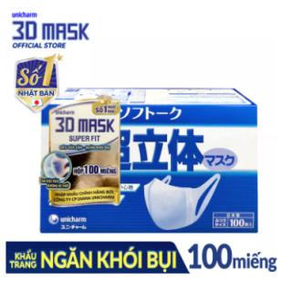 Hộp Khẩu trang ngăn khói bụi Unicharm 3D Mask Super Fit size M (Ngăn được bụi mịn PM10) 100 miếng thumbnail