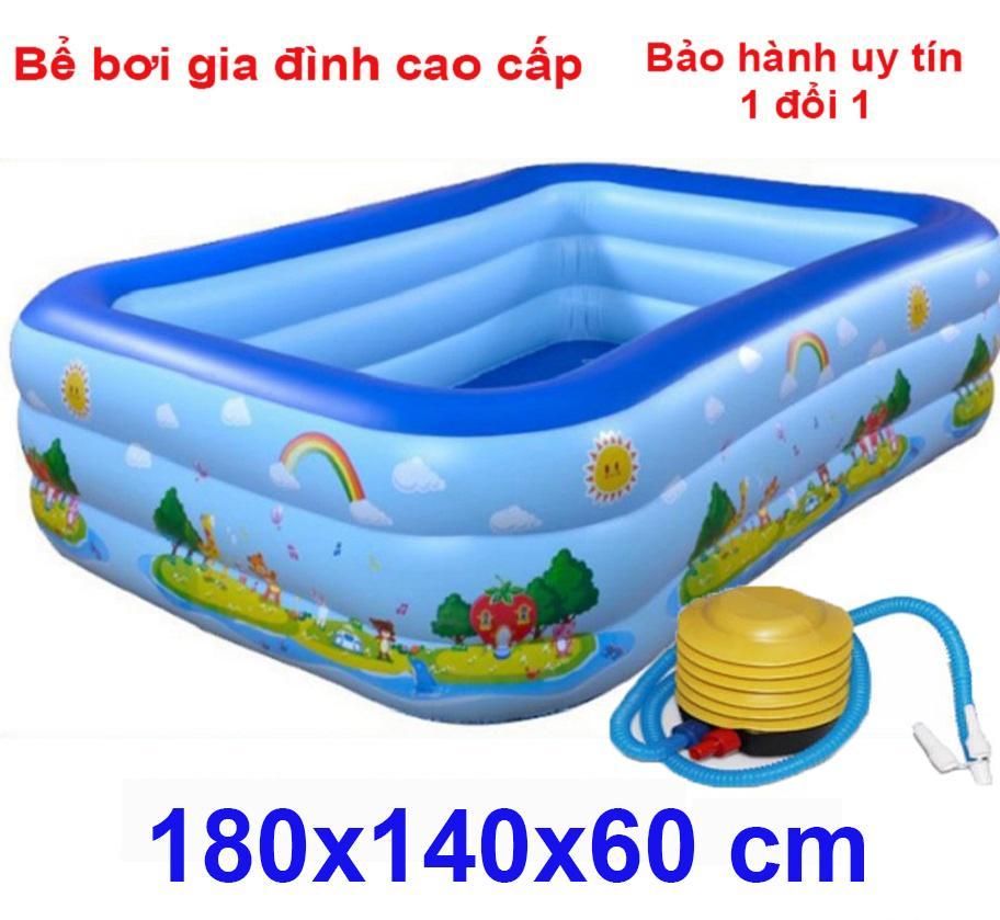 Phao intex - Gia tien be boi tre em Bể bơi phao 3 tầng  cỡ lớn cho bé và gia đình : 180 x 140 x 60 cm. loại dày dặn có tặng kèm( bơm hơi + miếng vá )
