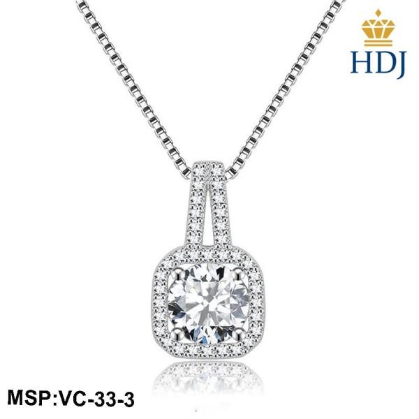 Dây chuyền bạc 925 Hình Mặt vuông đính đá cá tính trang sức cao cấp HDJ mã VC-33-3