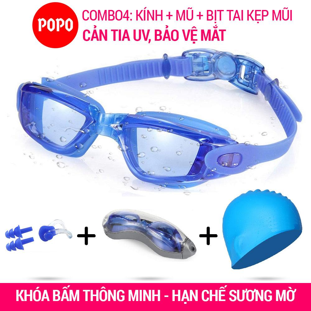Kính Bơi + Mũ Bơi + Bịt Tai Kẹp Mũi POPO 2360 Mắt Trong (Combo 4 Sản Phẩm) Kính Bơi Chống Tia UV, Mũ Bơi Trơn Chống Nước, Bịt Tai Kẹp Mũi Ngăn Nước Đang Hạ Giá tại Lazada