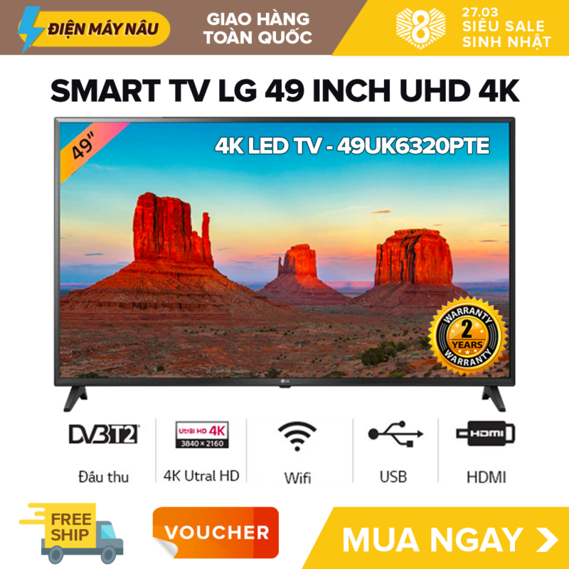 Bảng giá Smart TV Led LG 49 inch Ultra HD 4K - Model 49UK6320PTE (Đen) (Có Magic Remote)