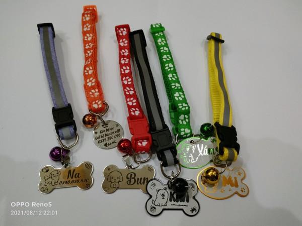 Thẻ tên kèm theo vòng đeo cổ khắc tên chó mèo có chuông (bộ sản phẩm: thẻ tên, pet tag được khắc 2 mặt theo yêu cầu của bạn, vòng cổ, chuông nhỏ xinh