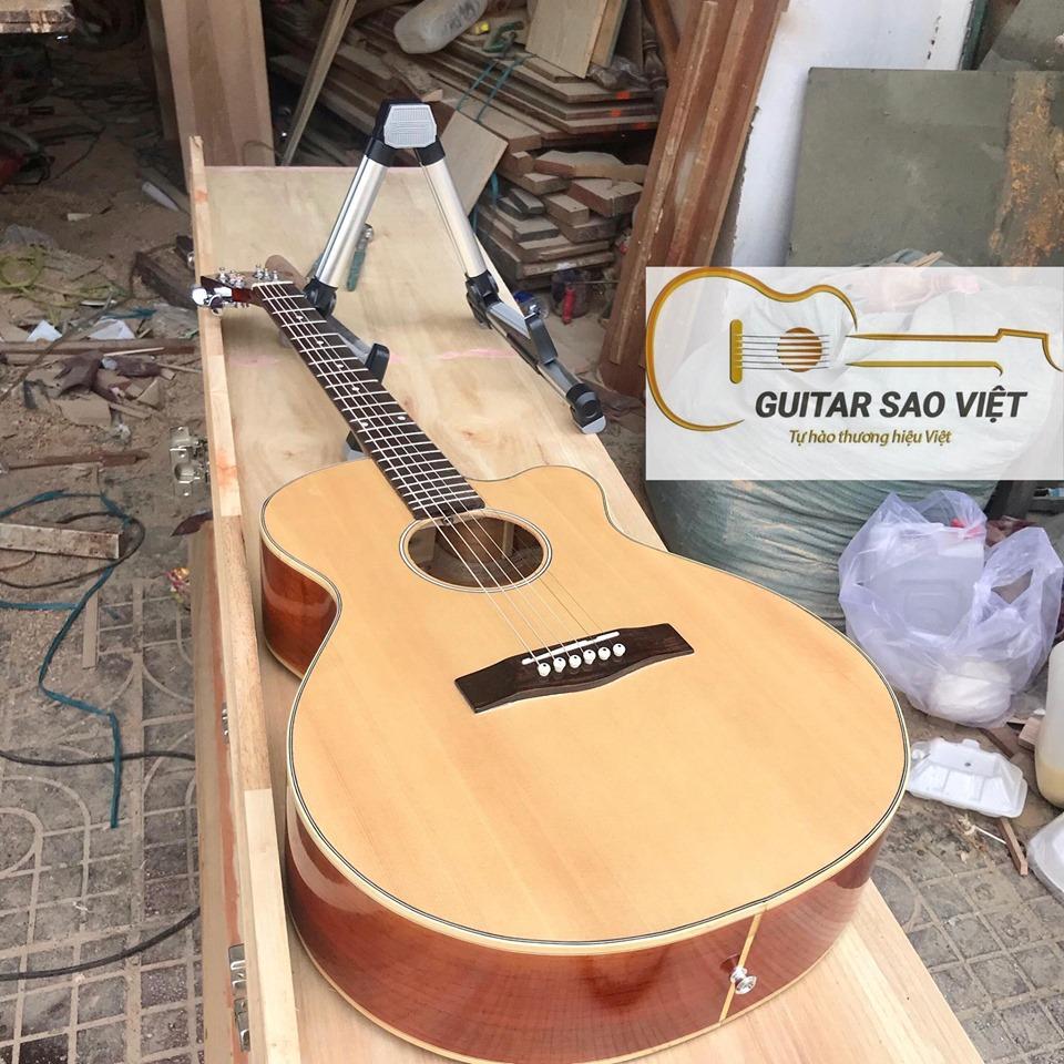 Đàn guitar acoustic SV-15HD 100% từ gỗ thịt nguyên tấm chất lượng cao bền theo thời gian