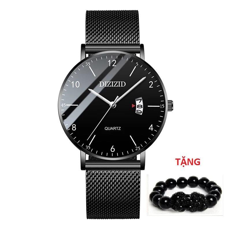 Đồng hồ nam DIZIZID DZ3N10 chống nước mặt siêu mỏng Special Design dây thép lụa TẶNG vòng tỳ hưu thạch anh đen Nhật Bản