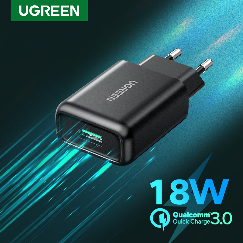 UGREEN Original QC3.0 Charger for Redmi Note 7 Quick Charge 3.0 Fast Handphone Charger for Samsung S10, A50, A70, M30, Xiaomi LG VIVO Apple iPhone  Redmi OPPO, Huawei, Xiaomi Pocophone F1