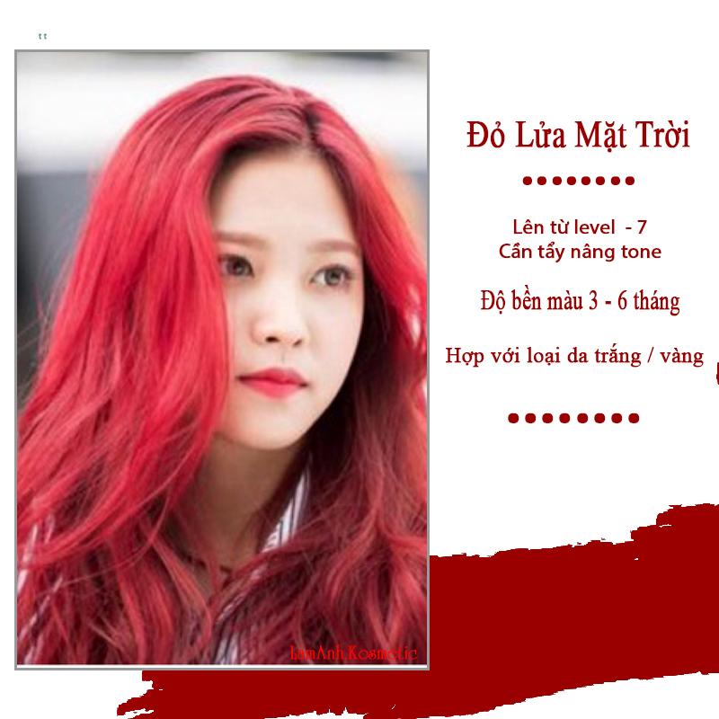 Thuốc nhuộm tóc màu ĐỎ RED - ĐỎ LỬA – FIRE màu nhuộm lên mầu chuẩn tone kem nhuộm an toàn không sót mùi thơm nhập khẩu