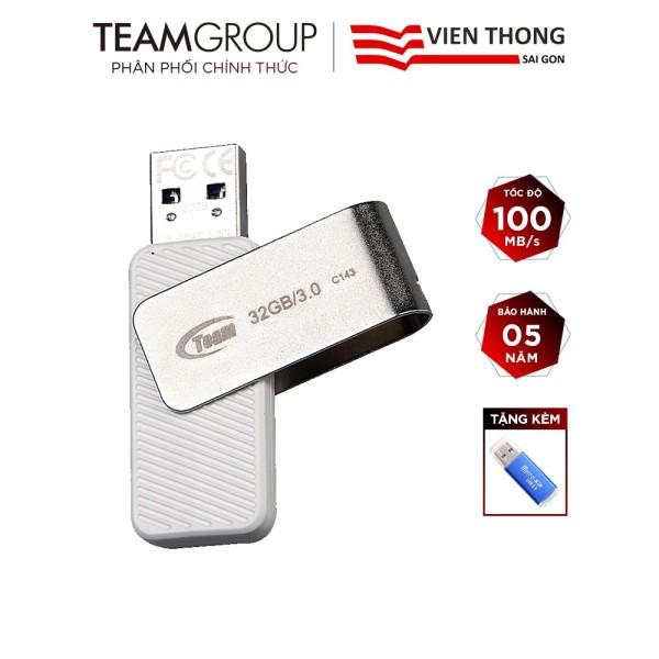 Bảng giá USB 32GB 3.0 Team Group C143 INC tốc độ upto 100MB/s tặng đầu đọc thẻ micro (ngẫu nhiên) - Hãng phân phối chính thức Phong Vũ