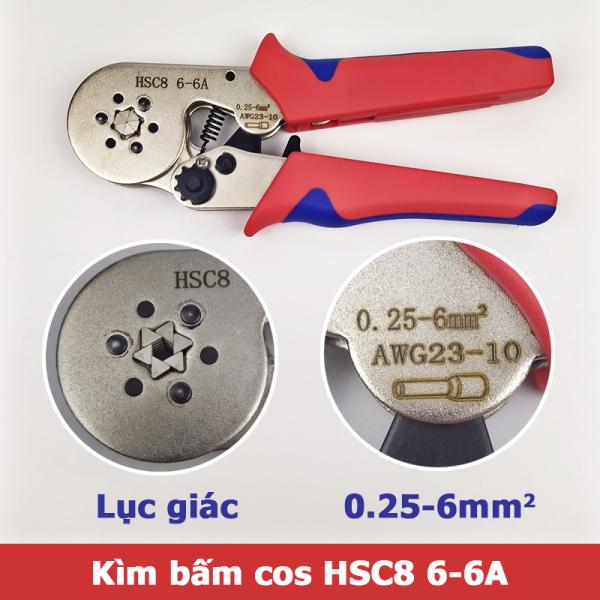 Kìm bấm cos lục giác HSC8 6-6A tự điều chỉnh cos ống tròn cos pin rỗng