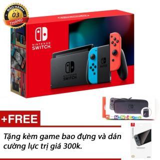 Máy chơi game Nintendo Switch 2019 hàng nhập khẩu (pin lâu hơn, màu blue red, tặng kèm bộ phụ kiện) thumbnail
