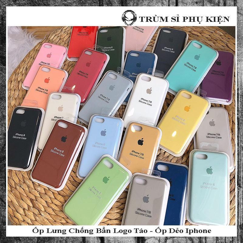 Giá [Có Video] Ốp lưng iphone chống bẩn màu trơn chất liệu mềm mịn kèm logo táo sang chảnh đủ mã 6,6s,6 plus,6s plus,7,8, 7 plus,8 plus,X, Xs Max
