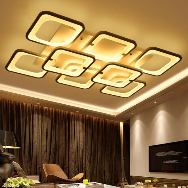 Đèn LED mâm ốp trần hiện đại trang trí phòng khách, phòng ăn- Đèn Led 8 cánh vuông 2 tầng 3 chế độ màu, Có điều khiển phân tầng