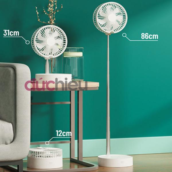 [ Bao chất lượng ] Quạt sạc tích điện xoay 180 độ kéo cao 1m