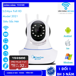 ( Combo thẻ nhớ 128gb BH 60 Tháng ) Camera Wifi Camera Carecam 3.0Mpx Xem đêm có màu sắc nét , đàm thoại , báo động , ghi hình (KÈM THẺ MÃ 415K VÀ KHÔNG THẺ 325K) thumbnail