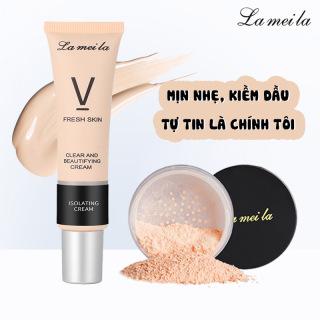 Combo Mịn Nhẹ Kiềm Dầu Lameila Kem lót trang điểm 30ml và Phấn phủ bột 6g dưỡng ẩm da, hiệu chỉnh tone màu da, kiềm dầu, che khuyết điểm, makeup da XP-DA02 thumbnail