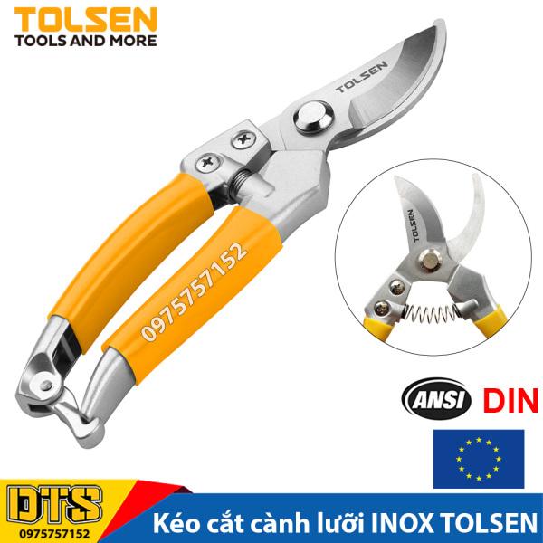 Kéo cắt cành công nghiệp lưỡi INOX không gỉ TOLSEN 200mm, đồ dùng làm vườn chuyên nghiệp - Tiêu chuẩn xuất khẩu Châu Âu