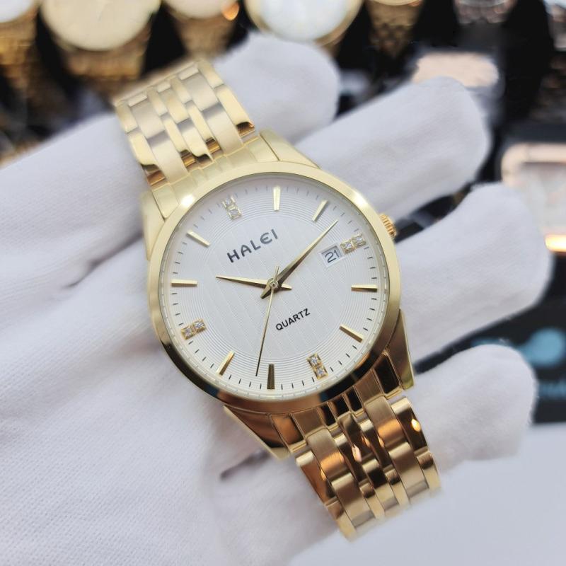 Đồng hồ cặp thời trang nam nữ Halei 562 Hl1 mặt tròn dây kim loại kèm lịch ngày cao cấp BL79