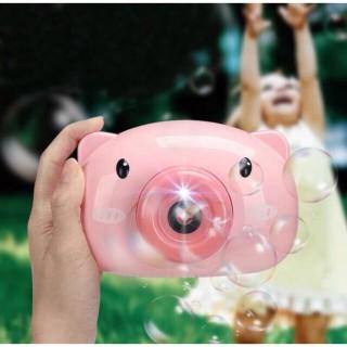 Máy chụp hình bong bóng Heo con dễ thương có nhạc và đèn, tặng kèm dây đeo và 2 lọ xà phòng bong bóng thumbnail