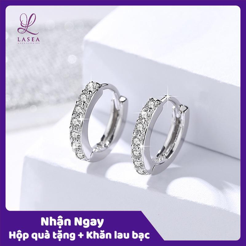 Bông tai nữ trang sức bạc Ý S925 Lasea - Hoa tai tròn gắn đá Zircon cao cấp E052