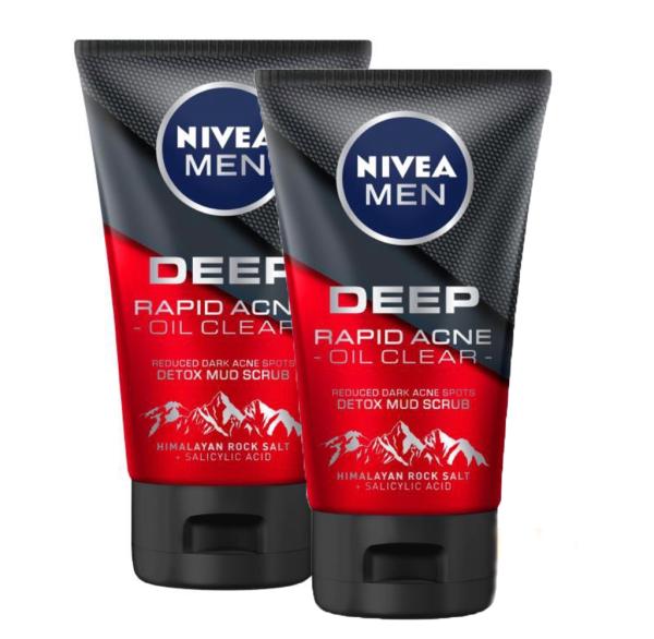 Bộ 2 Sữa rửa mặt Nivea Men Deep Rapid Acne oil Clear (100g/tuýp)