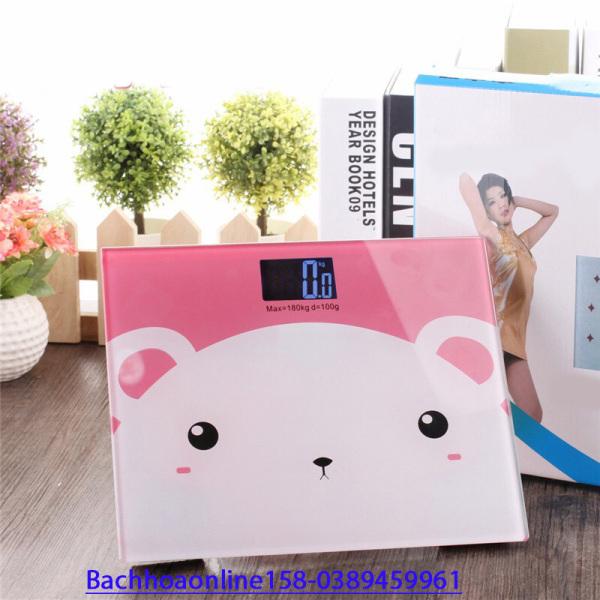 Cân điện tử sức khỏe hình gấu con màu hồng xanh cực xinh,độ chính xác cao cao cấp