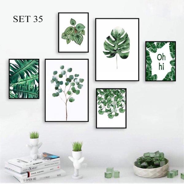 SET 6 tranh treo tường thiên nhiên hiện đại không cần khoan tường tranh decor nhà cửa, decor phòng ngủ, phòng khách