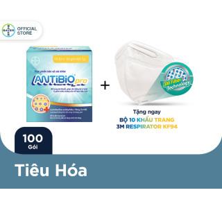 Thực Phẩm Bảo Vệ Sức Khoẻ Bổ Sung Lợi Khuẩn Antibio pro 100 Gói (10 Túi x 10 Gói Bột 1G) - Tặng 10 Khẩu Trang 3M Respirator KF94 thumbnail