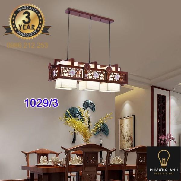Bảng giá Đèn lồng gỗ thả ba bóng led trang trí nội thất, phòng khách,phòng ăn cổ điển sang trọng mã 1029/3-Phương Anh