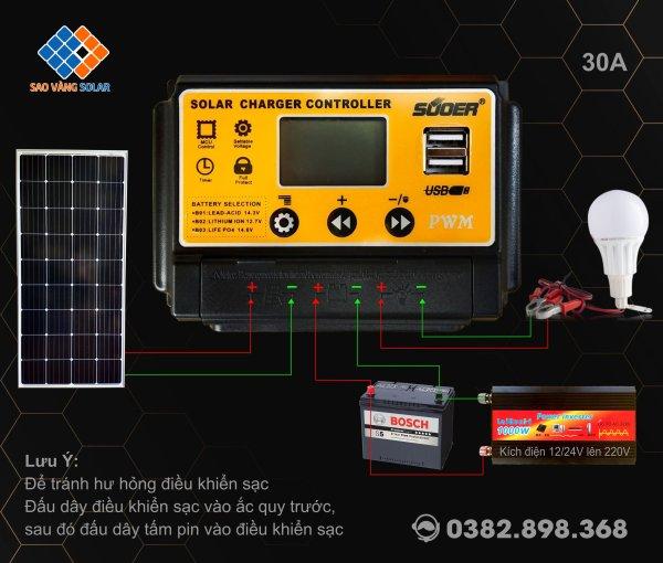 Bảng giá Điều khiển sạc năng lượng mặt trời 30A SUOER ST - S1230. Dùng sạc cho bình khô, bình nước, pin lithium và pin lifepo4